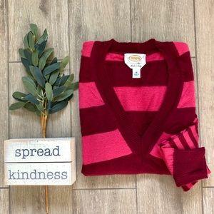 Talbots Merino Wool V-Neck Multi Stripe Sweater